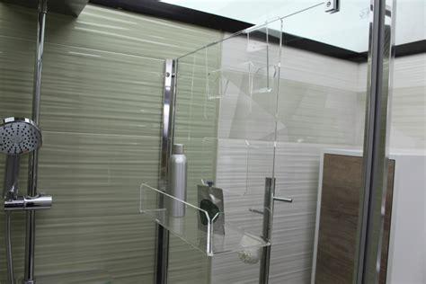 mensola doccia portasapone doccia in plexiglass con 2 porta asciugamani