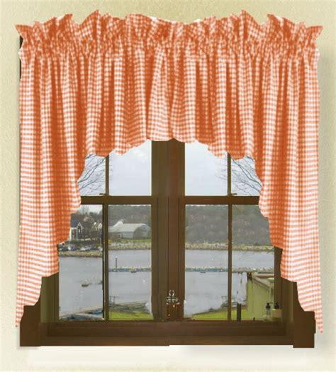 orange kitchen curtains orange gingham check scalloped window swag valance set