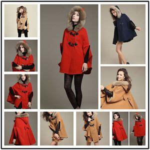 winter style damen xux style damen poncho mit kapuze pelz winter mantel jacke