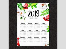 2019 Watercolor FloraL Annual Calendar Template for Free