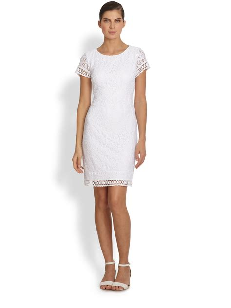 womens white dress laundry by shelli segal rosebud lace dress in white optic