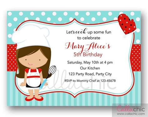 chef birthday invitation printable girlboy cooking party