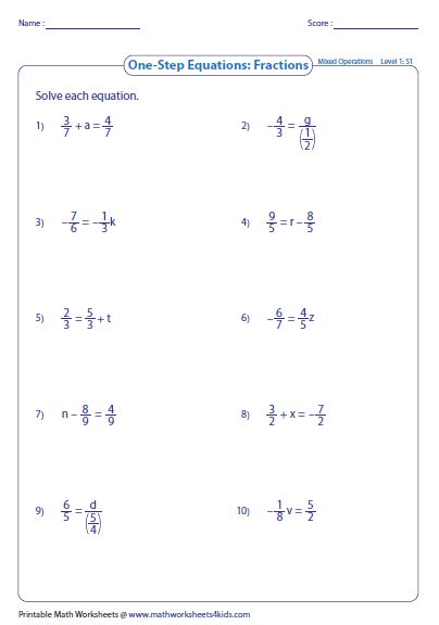 one step equation worksheets