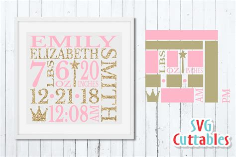 82 free birth announcement clipart in ai, svg, eps or psd. Baby Birth Announcement Template, SVG Cut File (101225 ...