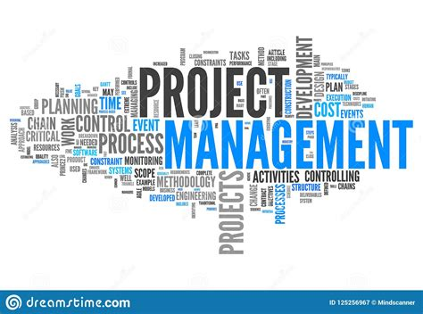 Project Management Keywords by Word Cloud Project Management Stock Illustration