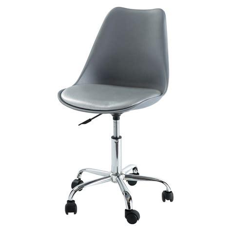 chaise de bureau à roulettes grise bristol maisons du monde