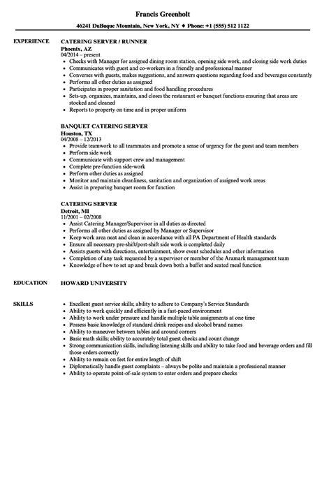Server Duties Resume by Catering Server Resume Sles Velvet