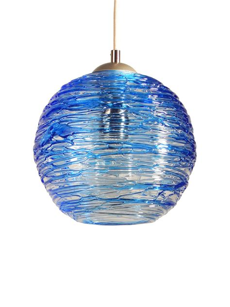 spun glass globe pendant light in cerulean blue by