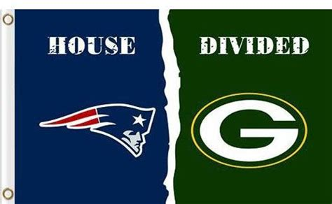 New England Patriots Vs Green Bay Packers Divided Flag