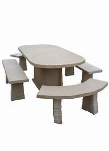 Salon De Jardin En Pierre : table de jardin ovale en pierre reconstitu e avec bancs 10 places ~ Teatrodelosmanantiales.com Idées de Décoration
