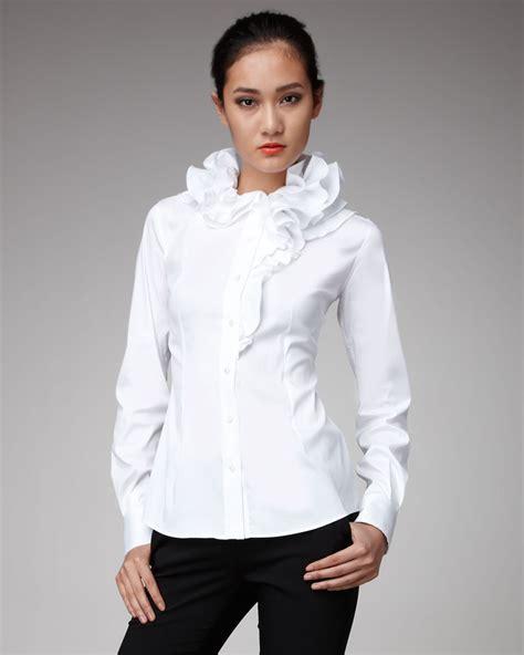 collar blouse dolce gabbana ruffle collar blouse in white lyst
