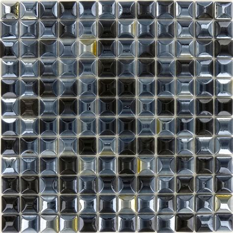 100% Recycled 1'' X 1'' Black Glass Square Tile Glossy Lag158