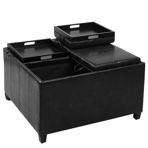 Best Ottomans by 4 Tray Top Ottoman Storage Table Pu Leather Bench Coffee