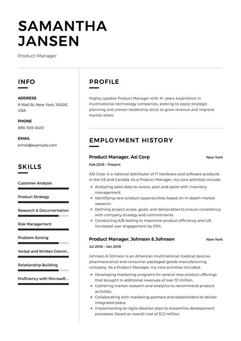 Formal Resume Template by Product Manager Resume Sle Template Exle Cv