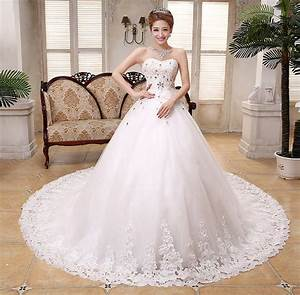 2015 hot sale trailing strapless tulle organza lace With wedding dress sale