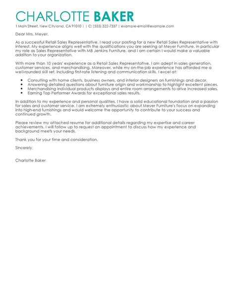 Cover Letter Sles by Amazing Rep Retail Sales Cover Letter Exles Templates
