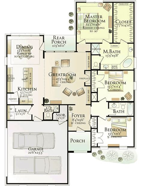 Southern Floor Plans by Southern Home With Open Floor Plan 62132v