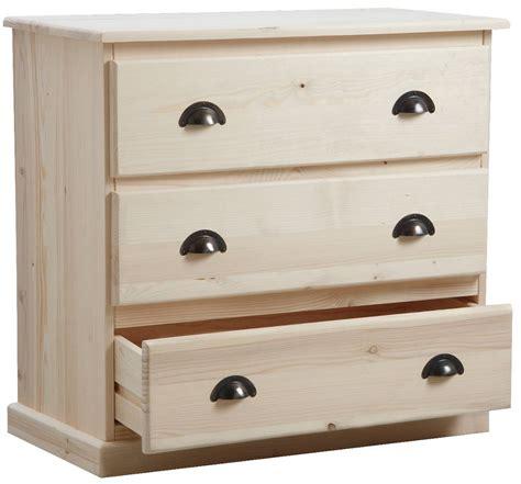 desserte bureau commode 3 tiroirs en bois brut