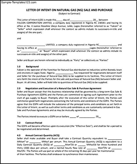 letter of intent on gas sale and purchase free pdf