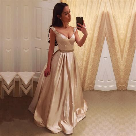 Deep V Neck Long Satin Champagne Evening Dresses Off Shoulder Prom Gow ? alinanova