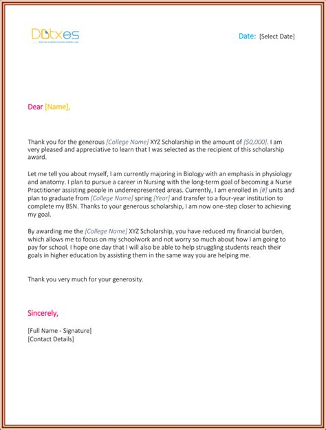 nursing scholarship thank you letter www imgkid