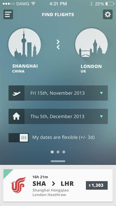 clean flight booking travel app translucent background