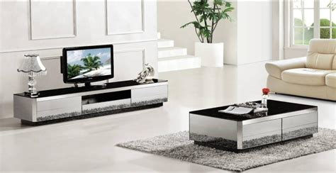 Coffee Table,TV Cabinet 2 Piece Set, Modern Design Gray Mirror Home Furniture,Grand Living room
