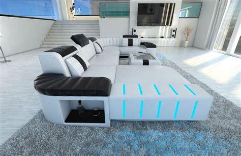 Design Sectional Sofa Bellagio Led U-shape White Black