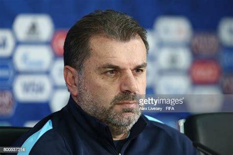 Ange Postecoglou the coach of Australia faces the media ...