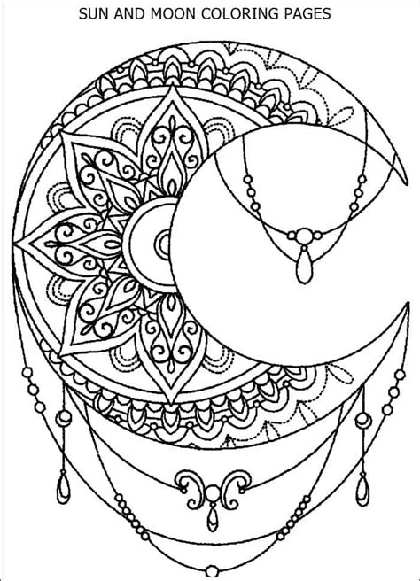 sun and moon mandala coloring pages   Small geometric