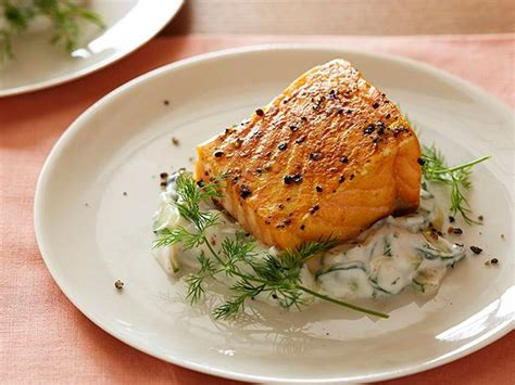 slow roasted salmon  cucumber dill salad recipe food