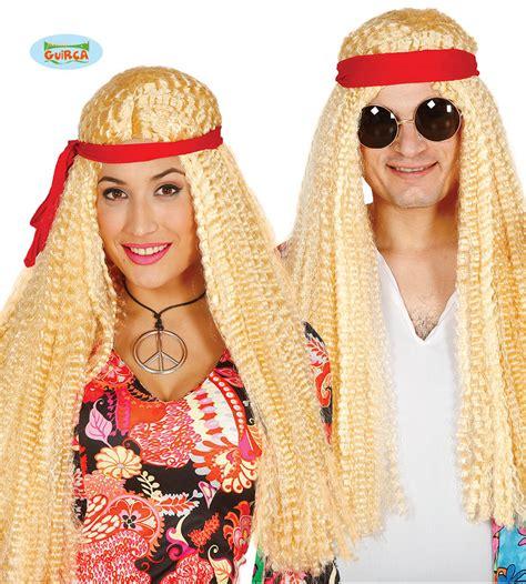 hippy figli dei fiori guirca parrucca lunga hippie figli dei fiori carnevale