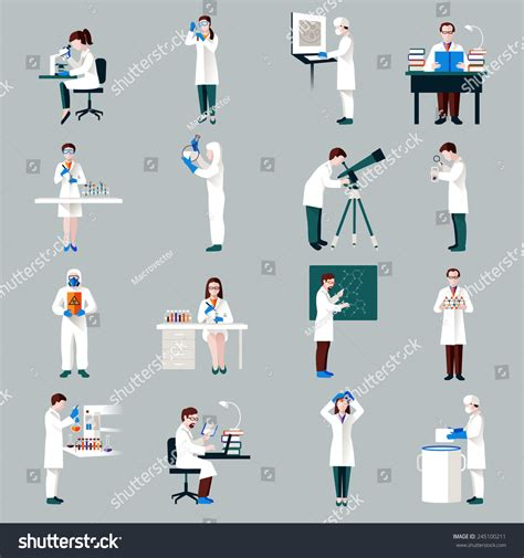 Scientists Characters Set Male Female People Stock Vector 245100211 Shutterstock