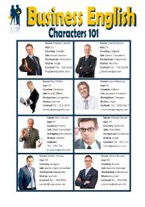 english worksheets business english characters