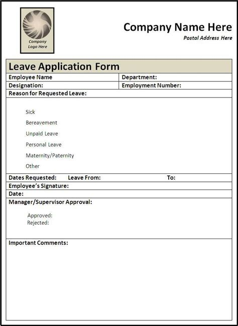 leave application form templates  word templates