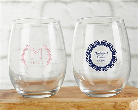 Stemless Wine Glass Rustic Wedding Favors