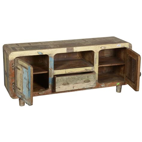 rustic reclaimed wood furniture retro patchwork tv stand