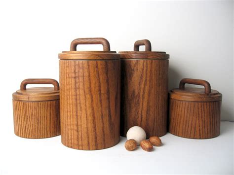mid century modern wooden canister container by objectofbeauty