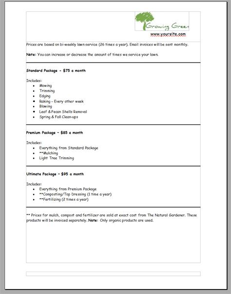 landscaping bid template commercial lawn care bid template templates resume exles wla0w0ryvk