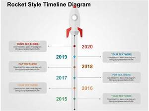Rocket Style Timeline Diagram Flat Powerpoint Design