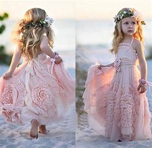 aliexpresscom buy chiffon pink long halter beach flower With wedding dresses for little girls