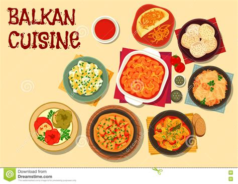 cuisine des balkans icono vegetariano de la cena de la cocina balcánica