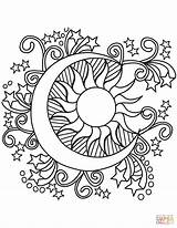 Coloring Moon Sun Pages Stars Pop Printable Drawing sketch template