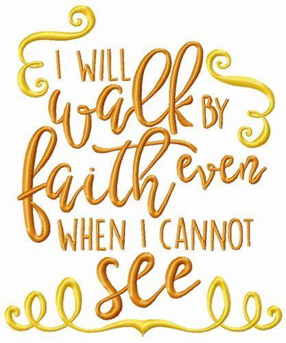 walk  faith      machine embroidery design letters decoration swirl