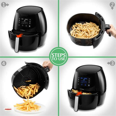 ultrean air fryer quart digital oilless presets touch screen ul nonstick fryers cooker lcd electric listed 1700w basket warranty certified