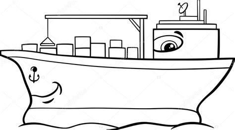Kleurplaat Binnenvaartschip by Container Ship Coloring Page Stock Vector