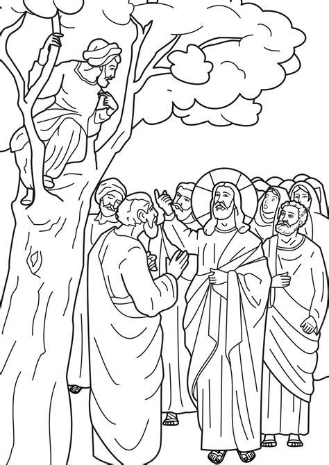 jesus  zacchaeus coloring pages zacchaeus   tree