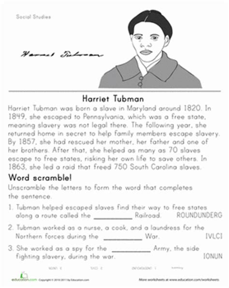 historical heroes harriet tubman worksheet education