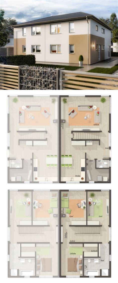 Doppelhaushälfte Grundrisse Modern by Doppelhaush 228 Lfte Modern Grundriss Mit Walmdach Architektur