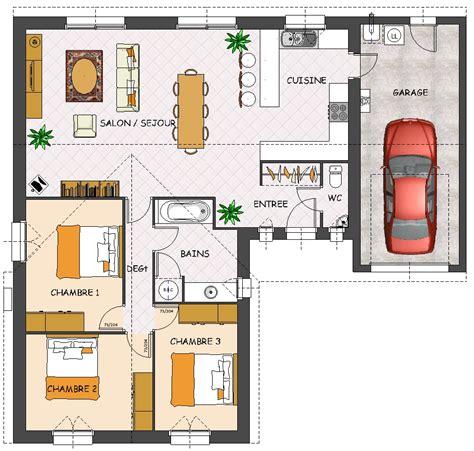 plan de maison plain pied 3 chambres gratuit plan maison plain pied 3 chambres garage